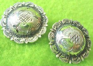 "PAIR (2) Vintage STERLING Silver 1"" CONCHOS~HIGH QUALITY~Spur Straps~Bridle~NR"