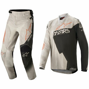 YOUTH ALPINESTARS RACER MOTOCROSS KIT PANTS JERSEY - FACTORY GREY / BLACK/ RUST
