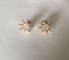 Trendy Star Stud Earrings Lined With White Crystals Pink Gold Tone