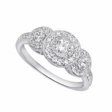 1ct Vintage Halo Diamond Engagement Ring 14k White Gold