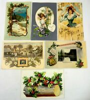 Antique Vintage Greeting  Christmas Holiday  Postcards ( Lot of 6) Free Shipping