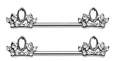 Nipple Bar  Tiara Crown Sparkle Barbell Ring Sold as pair