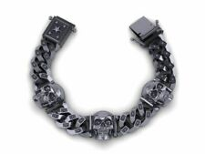 Gothic Men's Biker Chain Skull Bracelet In Oxidized 925 Sterling Silver