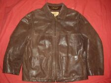 Georgetown Leather Design Distressed Brown Leather Jacket Coat Men's Size Small