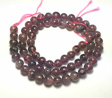 "16"" NATURAL Red Rutilated Strawberry Quartz Round ~60 Beads 7mm K7951"