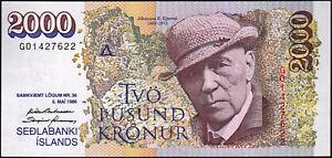 Rare  Iceland 2000 banknote UNC serial # G01427622 banknote Islanda