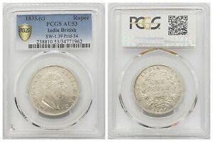 PCGS India British 1835 C 1 Rupee William IV Silver Coin AU53
