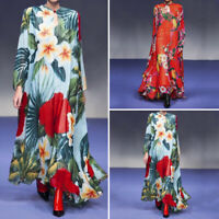 Women Floral Ethnic Long Maxi Dress Printed Loose Baggy Pleated Shirt Dress Plus