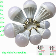 E27 B22 LED SMD Bulb Cool Warm Light Lamp 3W 5W 7W 9W 12W 15W 18W 24W 36W