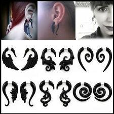 Spiral Gauge Ear Plug Fake Cheater Stretcher Flesh Earrings Piercing Acrylic 2PC
