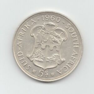 South Africa Silver 1960 5 Shillings-Lot E27