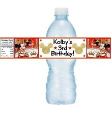 12 Royal Mickey Mouse Birthday Party Baby Shower Water Bottle Labels Gold Red
