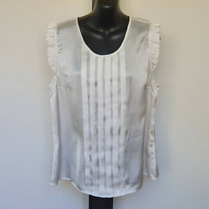 'AVOCADO' EC SIZE '14' SILKY WHITE FRILL CAP SLEEVE PLEATED FRONT TOP