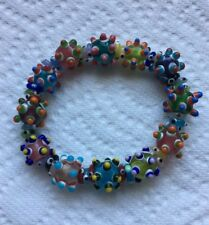 Vintage Hand Crafted Art Glass Beaded Stretch Bracelet Jewelry G-26