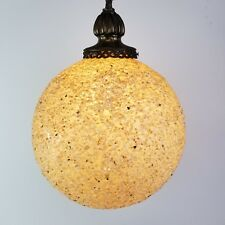 Mid Century Swag Lamp Hanging Light Iridescent MOP Gravel Lucite Globe Vintage