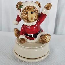 Vtg Otagiri Japan Music Box Teddy Bear Santa We Wish You A Merry Christmas