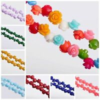 20pcs 10/12/15mm Resin Rose Flower Shape Charms DIY Loose Spacer Beads Wholesale