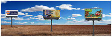 """HO Scenery Background Field w/billboards 12"""" high x 36"""" wide poly poster media"""