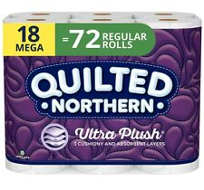 🧻 Ships Fast Quilted Northern Ultra Plush Paper 18 Mega Rolls = 72 Regular 🚽