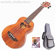 """Sweet 21"""" Mahogany with heart hole & Heart carved Soprano Ukulele+ Padding Bag#2"""