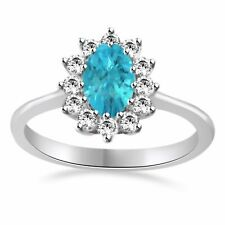 Aquamarine & Topaz Halo Anniversary Band Ring 14k Gold Over Sterling Silver