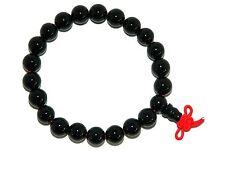 B-0019 - BELLISSIMO nero agata gemstone Mala Bracciale fatto a mano - 5,5 cm di diametro