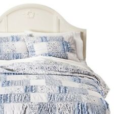 SIMPLY SHABBY CHIC 2pc TWIN QUILT SET BLUE FLORAL RAW RUFFLE  NEW White SHAM