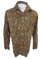 Alan Flusser Men shirt PAISLEY l/s dress casual M 15/33 corduroy print cotton