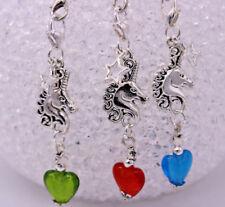 Einhorn Schlüsselanhänger in silber Lampwork Herz Unicorn Charm Glücksbringer