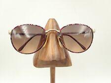 Vintage Viva 662 WN Red Black Gold Marble Metal Oval Sunglasses Frames