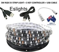 5M 5V WATERPROOF RGB STRIP LIGHT + 3 KEY DIMMABLE CONTROLLER USB CONNECTION LEAD