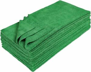 Eurow Microfiber 16 x 16in 300 GSM Ultrasonic Cut Cleaning Towels 12Pk - Green