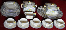 Rare 1932 Art Deco Burleigh Ware Maytime Dinner & Tea Service 36 Pieces