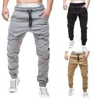 Casual Sports Men Trousers Solid Color Elastic Waist Drawstring Baggy Pants