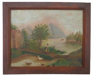 AAFA 1800 LARGE Folk Art Primitive Hudson River Country Painting Oil board Frame