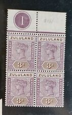ZULULAND 1894 Queen Victoria 3d SG 23 Sc 18 MNH block 4 with plate 1