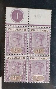 ZULULAND 1894 Queen Victoria 3d SG 23 Sc 18 MNH block 4 with plate 1