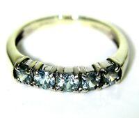 Natural Blue Zircon 9ct White Gold Stacking Band ring K  ~ 5 1/4