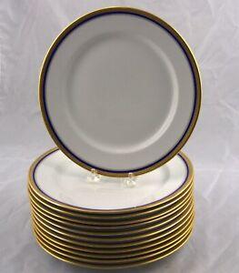 12 Vignaud Limoges Seville Gold Gilt & Cobalt Blue Band Dinner Plates France