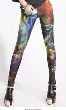 Womens Girls Fashion Galaxy Leggings New Small Rock Chick Punk Gothic Goth