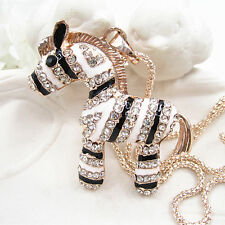 Rose Gold Plated Crystal Black&White Cute Zebra Pendant Long Sweater Necklace