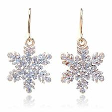 Gold Glitter Christmas Snowflake Drop Dangle Hook Earrings Snow Ladies Xmas A