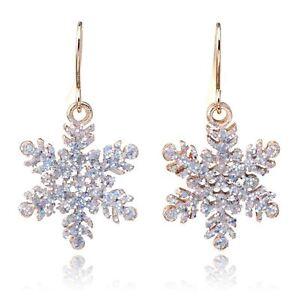 *UK* Gold Glitter Christmas Snowflake Drop Dangle Hook Earrings Snow Ladies Xmas