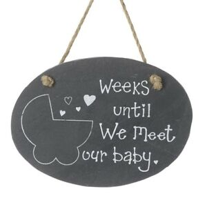 Weeks Until We Meet Our Baby Countdown Hanging Sign Slate Chalkboard Plaque gift