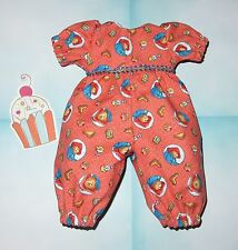 "Handmade Doll Clothes for 12"" - 14"" Baby Dolls - ""Bear Treats"" Long Romper"
