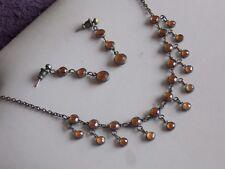 Gorgeous Amber Diamante Choker Necklace & Earrings Set