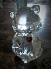 Vintage Fenton glass Bear with red jeweled heart stamped Fenton