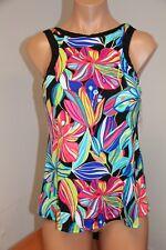 New 24th & Ocean by VM Swimsuit Bikini Tankini Top High Neck Sz M Multi Floral