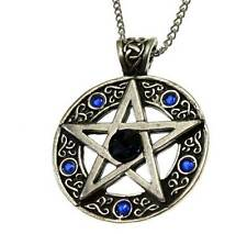 Nordic Lights Celtic Pentagram Circle Star Pendant Necklace Pewter Blue Crystal
