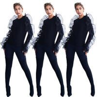 Women Long Sleeves Mesh Ruffled Patchwork Casual Club Black Tops Shirts Blouses
